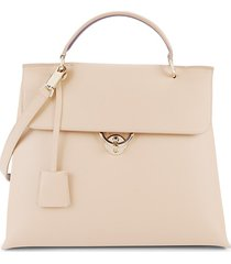 salvatore ferragamo women's leather satchel - almond