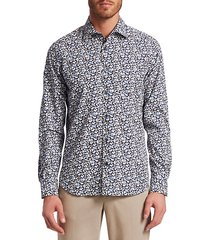 collection digital rose woven cotton button-down shirt
