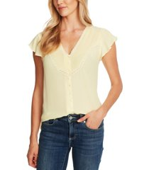 cece pleated flutter-sleeve top