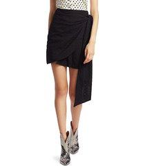 andamane women's camilla lace eyelet mini wrap skirt - black - size s