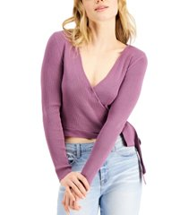 hooked up by iot juniors' ribbed tie-side sweater