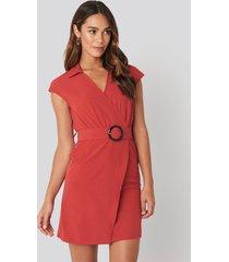 na-kd belted mini dress - red