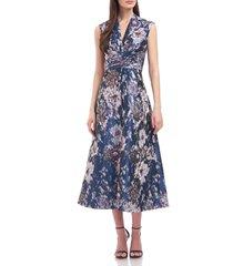 kay unger metallic floral a-line cocktail dress, size 16 in rainforest blue at nordstrom
