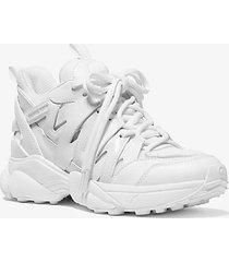 mk sneaker hero in pelle e mesh - bianco ottico (bianco) - michael kors