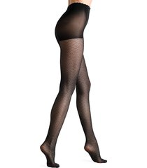 fogal women's kano patterned tights - noir - size s
