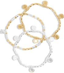 lucky brand two-tone 3-pc. set coin charm stretch bracelets