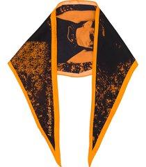 acne studios propaganda magazine print bandana - orange