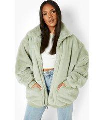 plus oversized faux fur jas met zak detail, sage