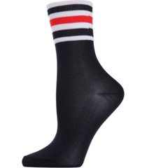 memoi sheer striped cuff women's crew socks