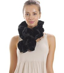 [shop lev] melody women's solid faux fur twisted/ spiral scarf (black)