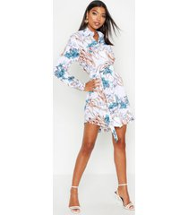 tall bloemenprint blouse jurk en riem, ivoor