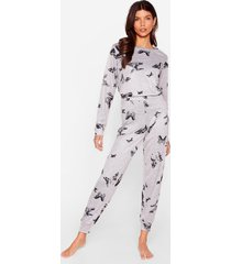 womens time butterflies relaxed joggers pajama set - grey