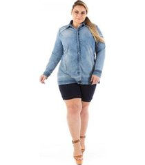 camisa jeans slin destroyed plus size confidencial extra feminina
