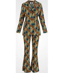 niebiesko-brązowy garnitur