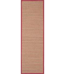 "safavieh natural fiber brown and red 2'6"" x 8' sisal weave runner rug"