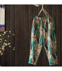 zanzea mujeres del verano de los pantalones ocasionales de capris de las señoras de bohemia pantalones florales del vintage -verde