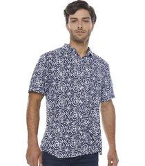 camisa hojas geometricas navy corona
