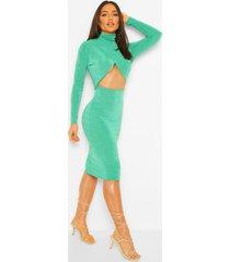 getextureerde nauwsluitende midi-jurk met gekruiste voorkant, flessengroen