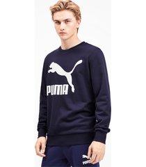 classics sweater met logo en ronde hals voor heren, blauw, maat xl | puma