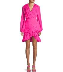 giambattista valli women's ruched chiffon silk wrap dress - pink - size 40 (6)