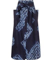 p.a.r.o.s.h. tie-dye belted a-line skirt - blue