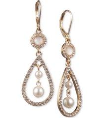 anne klein gold-tone imitation pearl orbital drop earrings