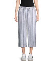 beach lunch lounge women's striped wide cropped pants - blue shades - size l