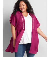 lane bryant women's dolman-sleeve tunic overpiece 18/20 purple