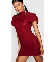 high neck frill sleeve bodycon dress, wine