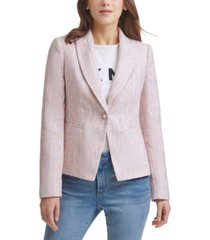 dkny tweed faux pearl one-button blazer