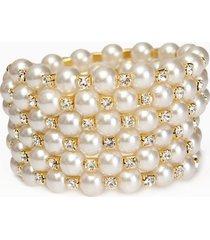braccialetto di perle di strass del temperamento di cabochon di vetro