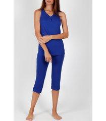 pyjama's / nachthemden admas pyjama broek tank top massieve kleuren blauw adma's