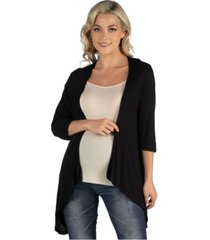 24seven comfort apparel elbow length sleeve maternity open cardigan