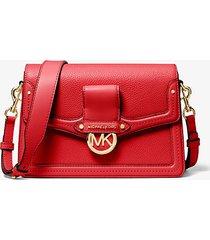 mk borsa a spalla jessie media in pelle martellata - rosso brillante (rosso) - michael kors