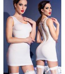 * chilirose wit mini jurk met kousen