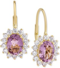 amethyst (2-3/8 ct. t.w.) & cubic zirconia drop earrings in 18k gold over sterling silver