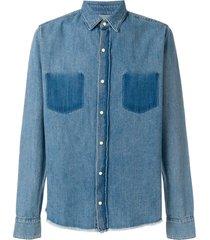 rta frayed hem denim shirt - blue