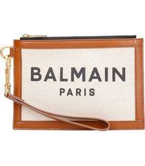 balmain clutch in brown canvas