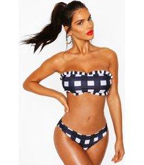 gingham frill bandeau bikini, navy