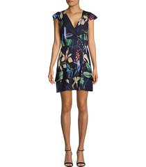 floral-print v-neck mini dress