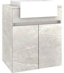 conjunto p/ banheiro c/ espelheira tecla tomada led e gabinete c/ cuba cora 60cm mb bosi cinza - cinza - dafiti