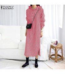 zanzea vestido de camisa con botones a cuadros vestido a cuadros casual sudadera con capucha vestido a media pierna -rojo