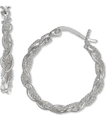 "giani bernini small braided hoop earrings in sterling silver, 1"", created for macy's"