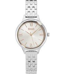 kensington - orologio da polso solo tempo con cassa e cinturino in acciaio e quadrante silver con puntatori in rose gold per donna