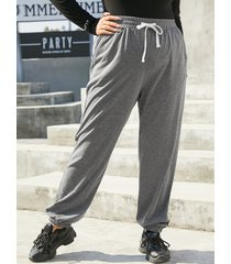 yoins plus talla bolsillos laterales con cordón cordón diseño pantalones