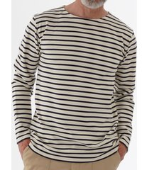 armor lux long sleeve breton striped mariniere t-shirt - white & aquilla 02297