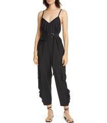 women's tibi belted tropical jumpsuit, size 2 - black