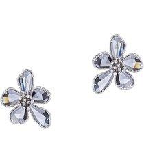 eye candy la women's luxe silvertone & crystal flower earrings