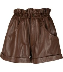 forte dei marmi couture paperbag flared shorts - brown