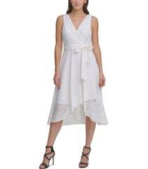 dkny textured faux-wrap dress